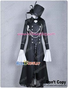 $125.00  Black Butler Ciel Phantomhive Cosplay Costume Black  Include: Coat + Jacket + Shirt + Shorts + Hat + Flowers + Gloves + Eye patch Accessories  Fabric: Cotton + Polyester