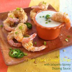Potato Panko Coconut Shrimp with Jalapeño Honey Dipping Sauce from Teaspoonofspice.com