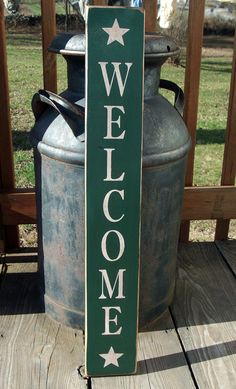 Primitive Wood Signs | Primitive Wood Welcome Sign with Stars by BedlamCountryCrafts