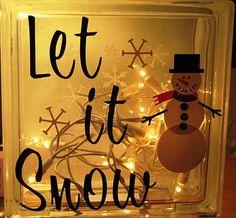 "Clear brick + vinyl + white Christmas lights = ""Let it Snow"" Decorative Glass Block"