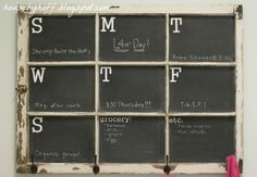 DIY Calendar from upcycled window painted in chalkboard paint