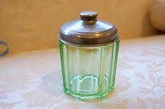 green depression glass jar w/ silver lid