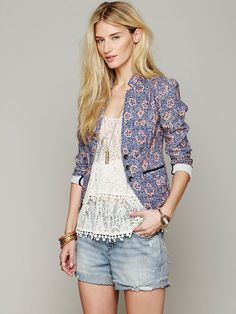 Free People Printed Blazer at Free People Clothing Boutique