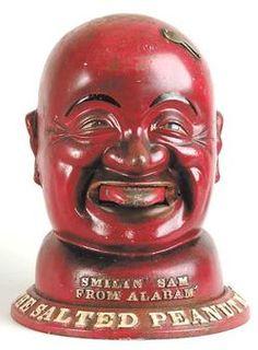 Smilin' Sam from Alabam, Peanut Vendor, 1 Cent, 14 inch.A cast aluminum Smilin' Sam one-cent peanut vendor, circa 1931. iimage courtesy of James D. Julia, Inc