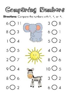 Greater than Less than Equal to Worksheets to Compare Numbers