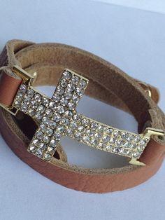 Crystal Cross Wrap Leather Bracelet
