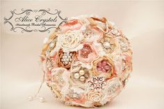 Brooch bouquet. Shabby Chic bouquet. vintage gold, peach, ivory, pink and lace. on Etsy, $40.00