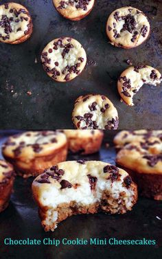 Chocolate Chip Cookie Mini Cheesecakes {I Eat Therefore I Cook}