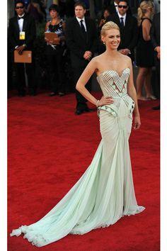 January Jones in a mint green, train structure Versace Dress