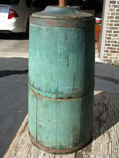 Antique Primitive Wooden Butter Churn Dasher Orig Dry Green Paint | eBay