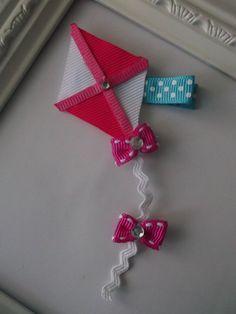 Kite Ribbon Sculpture Hair Clip Kite Hair Clip by creationslove, $3.00