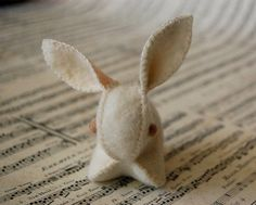 White Felted Bunny Rabbit Toy