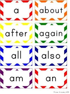 Word Wall Headers & 200 Words - Rainbow Chevron