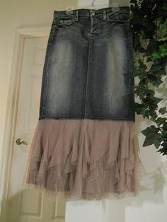 Sirène Mauve mermaid fairy jean skirt Seven for by bohemienneivy, $125.00