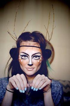 DIY Halloween Makeup : Beautiful deer make up for Halloween