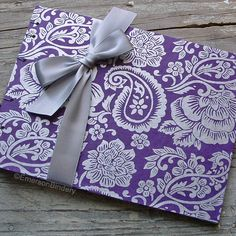 Wedding Guest Book, Silver and Purple Paisley, MEDIUM 8x6, MADE upon ORDER. $35.00, via Etsy.