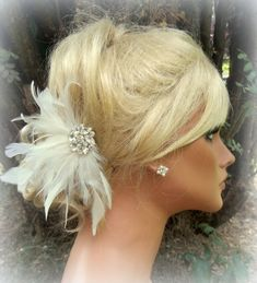Wedding Bridal Hair Facsinator Ivory or White by kathyjohnson3, $40.00
