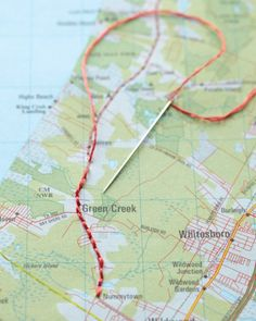 Hand-stitch the route you took on a vacation and frame it. #maps #vacation #art