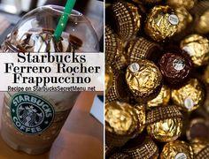 Starbucks Ferrero Rocher Frappuccino! #StarbucksSecretMenu Recipe here: http://starbuckssecretmenu.net/starbucks-secret-menu-ferrero-rocher-frappuccino/ Starbuck Ferrero, Starbucks Secret Menu Drinks, Starbuck Secret