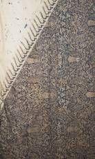 Cotton and silk batik perada royal ceremonial skirt cloth dodot pinarada mas, centre in lozenge form, with cosmic landscape of mountains, forest, animals and double- wing garuda, circa 1900, -restauration and three border restaurations-, 340 x 210 cm, JAVA/BALI -from the collection of Dolf Breetvelt- skirt cloth, circa 1900, silk batik, 210 cm, batik design