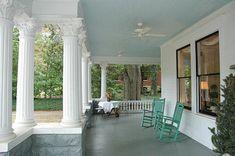 """Porch Ceiling Painted Haint Blue - has """"haint blue"""" paint colors"""