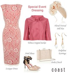 Coast pink lace occasion dress and cropped jacket. Pill box fascinator, pearl clutch and nude court shoes.