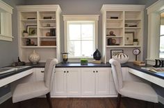 This one I LOVE for a home office, two kids or husband/wife space => Office Decoration Ideas / Love the wall cabinets office spaces, home office design, office designs, desk, craft room, offic idea, new construction, traditional homes, home offices