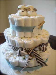 baby boy diaper cake. This was done for me....so sweet!