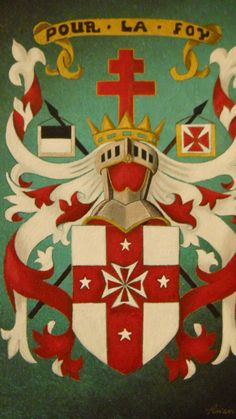 Knights Templar Coat of Arms....oil on canvas. by Raven Wing Hughes