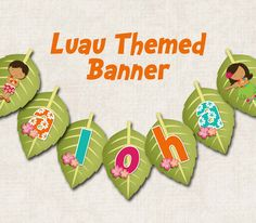 Aloha Luau Birthday Party Banner ALOHA by missbellaexpressions, $8.00