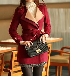 Wholesale Fashion Scoop Neck Belted Thickened Double-Breasted Long Sleeves Slimming Blended Coat (RED,M), Jackets & Coats - Rosewholesale.com