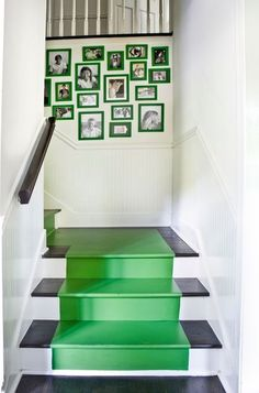 interior design, basement stairs, stairway, colors, hous, kelly green, picture frames, stair runners, painted stairs