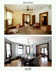 Rehab addict - Case Ave dining room. Before/ after by Ariel Photography