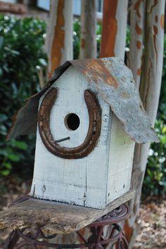 Wooded Birdhouse Lucky Horseshoe White Recycled Shabby Folk Art