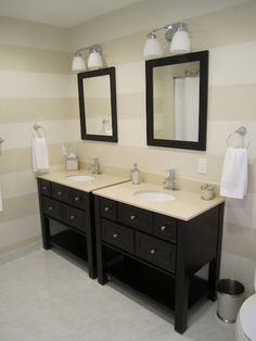 Guest bathroom idea, beige on beige painted stripes with dark woods