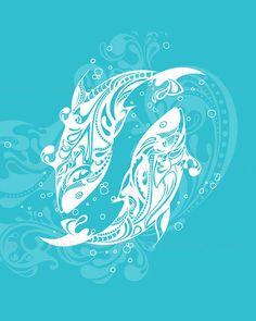 Pisces Zodiac Sign Art Print 5x7, 8x10,11x14,13x19 Print, please select a size.--- Star 008 on Etsy, $12.00