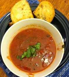 Easy Crock Pot Tomato Basil Soup! Mmmm.... Mmmm... beats the hell outta Campbell's!