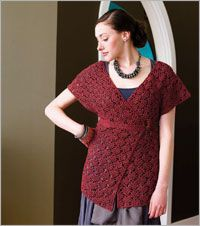 "Lucine Tunic crochet pattern instructions by Robyn Chachula. Published in Interweave Crochet Spring 2010 and also available as a PDF download via interweavecrochet.com. Sizes up to 50"" bust. Fastens under the bust and skims over the torso; sleeves are generously sized."