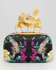 V1BDB Alexander McQueen Apple & Hummingbird Knuckle-Duster Embroidered Clutch Bag