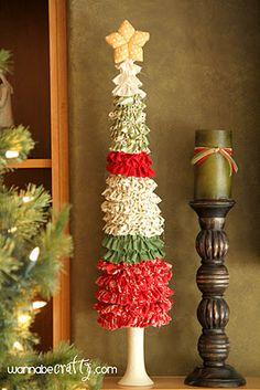 Ruffle Fabric Christmas Trees tutorial