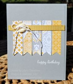 handmade card ... pale gray base card ... row of patterned paper banners in yellow, white and gray ... luv the clean and simple layout ... Stampin' Up!