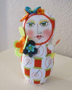 Matryoshka art doll pincushion