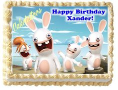 The popular Rayman Raving Rabbits video game has become a cute show on Nickelodeon.  If your child is a fan of the video game and television show, this Rabbids Invasion edible cake topper would be wonderful for their next birthday celebration.  It features the crazy rabbits and it can be customized with your child's name.
