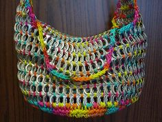 purs, soda tabs, crochet, pop top, pop tab, tab craft, rainbow, pull tab, bags