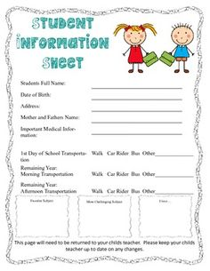 One stop shop for the infamous back to school packet that we all scramble to get together before Back To School night. This will make our lives easier!