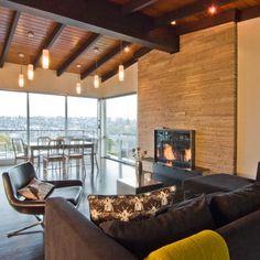 Fireplace wall Halladay Street Remodel - modern - living room - seattle - BUILD LLC