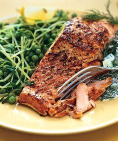 Salmon with Peas Pea Tendrils and Dill Cucumber Sauce Photo - Salmon Recipe   Epicurious.com