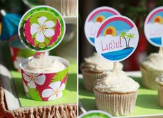Luau and pink and white hibiscus flower cupcake supplies ~ party printables from thecelebrationshoppe.com