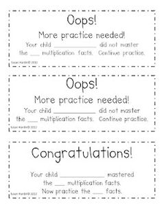 """$0 Free...Communicate with your parents, the results of your weekly fluency assessments with the """"Oops!"""" and """"Congratulation!"""" notes.    -3rd Grade Grapevine"""