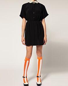 orange knee high striped socks